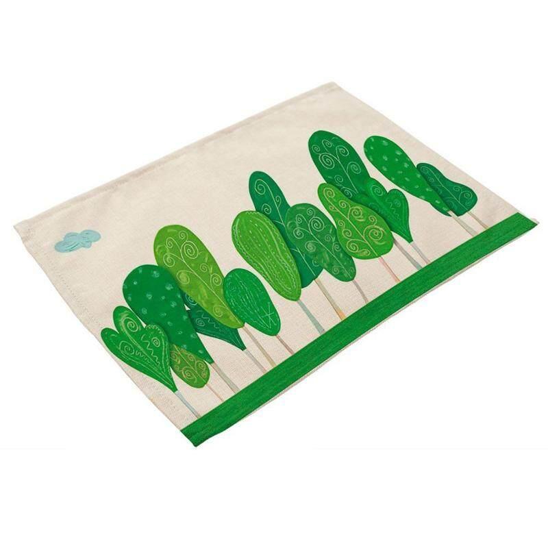 Hijau Yang Indah Pohon Gambar Alas Piring Linen untuk Dapur Bisa Dicuci Taplak Meja Non-Slip Panas Isolasi Meja Makan Tikar untuk Cangkir Teh Taplak Meja 42X32 Cm #24-Intl