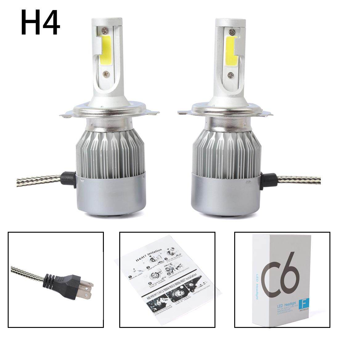 New 2pcs C6 Led Car Headlight Kit Cob H4 36w 7600lm White Light Bulbs By Yoyonow.