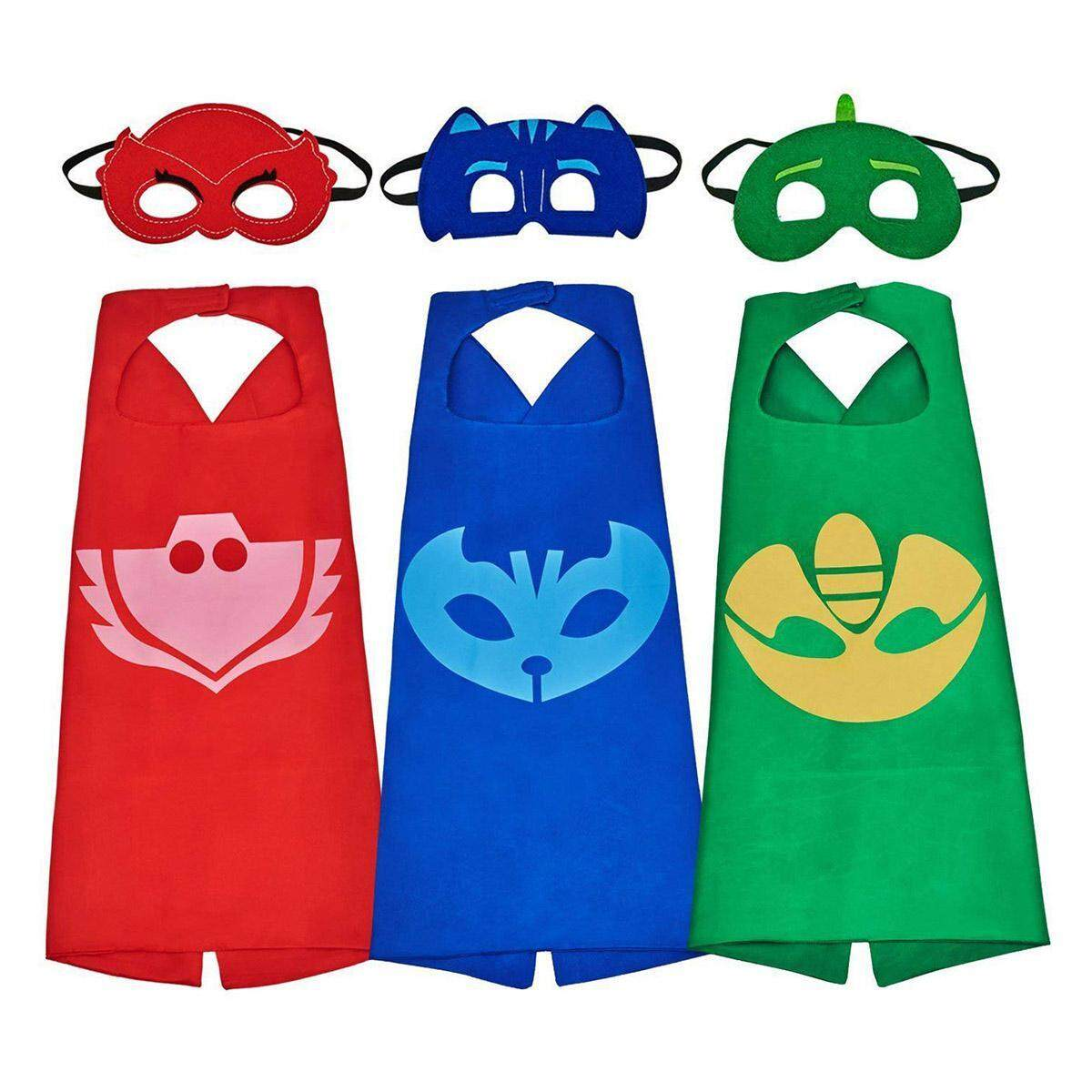 3 Set Superheros Capes Mask Cartoon Costume Dress Up For Kids, Catboy Owlette Gekko Costume For Christmas, Halloween, Party By Kobwa Direct.