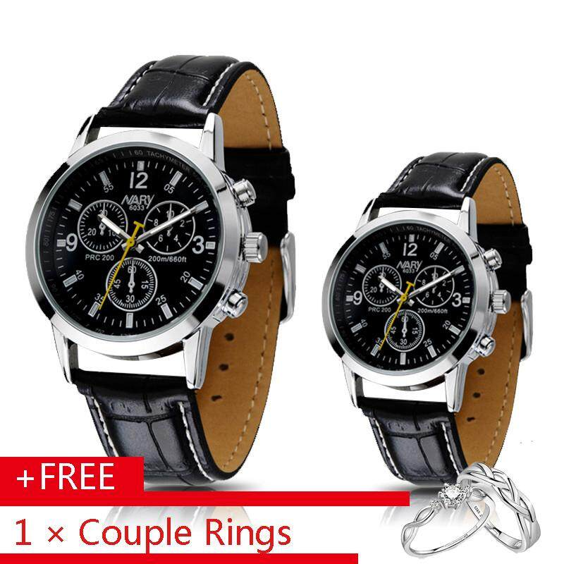 0cafa07b0b Nary 6033 2Pcs Couple Watch Brand Watches Men Luxury Quartz Calendars  Leather Strap Casual Waterproof Men