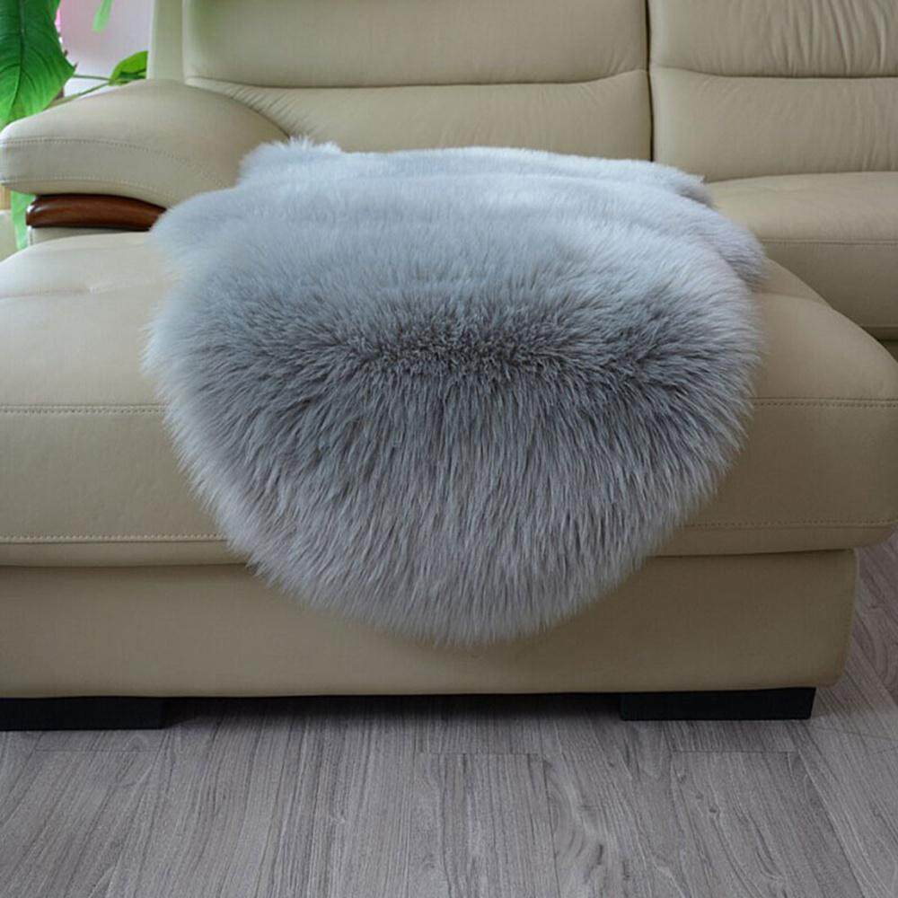 Umiwe Artificial Wool Shaggy Floor Mat Area Rugs Home Carpet Warm Cushion Sofa Chair Armchair Couch Cover for Living Room,Bedroom,Bathroom,Home Decor