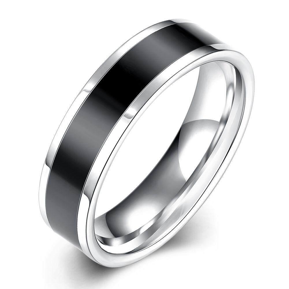 Kemstone Fashion Pria Cincin Kualitas Tinggi Baja Anti Karat dengan Garis Hitam Di Tengah Cincin Mengkilap Perhiasan Mewah