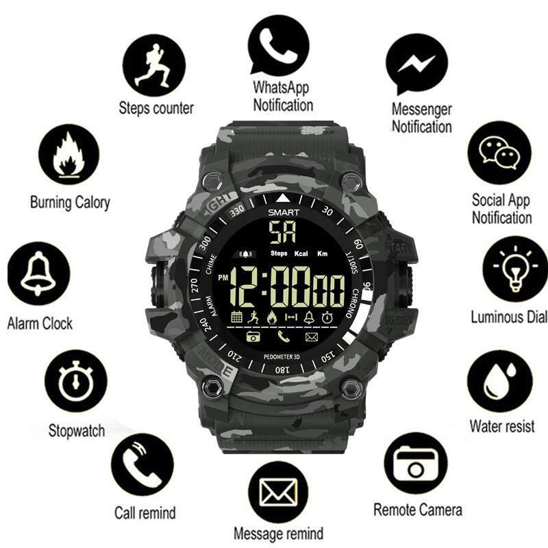 Dotec Ex16 Plus Smartband Sport Bluetooth Smart Watch 5atm Waterproof Camouflage Smartwatch Alarm Clock Stopwatch Long Standby Wristwatch By Dotec.