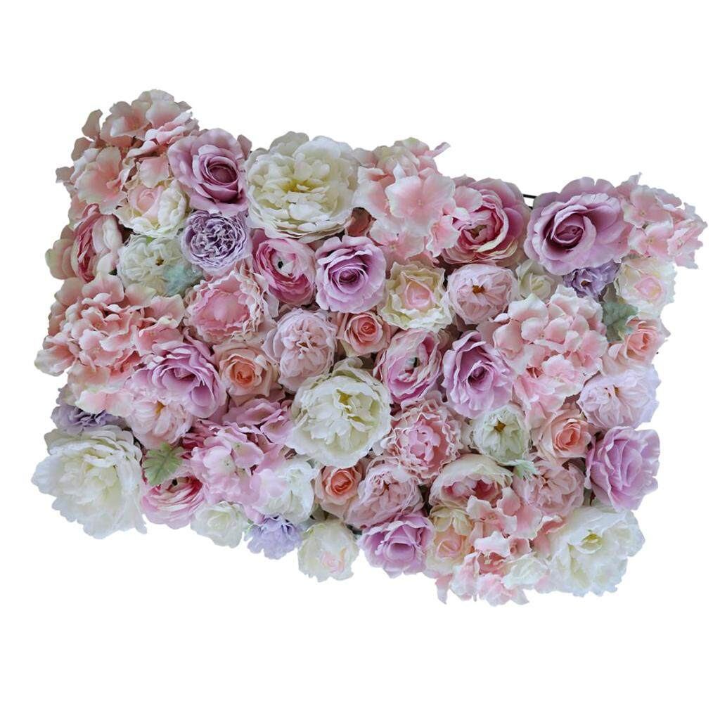 GuangquanStrade Artificial Flower Wall Panels Wedding Party Decoration Photo Prop Purple