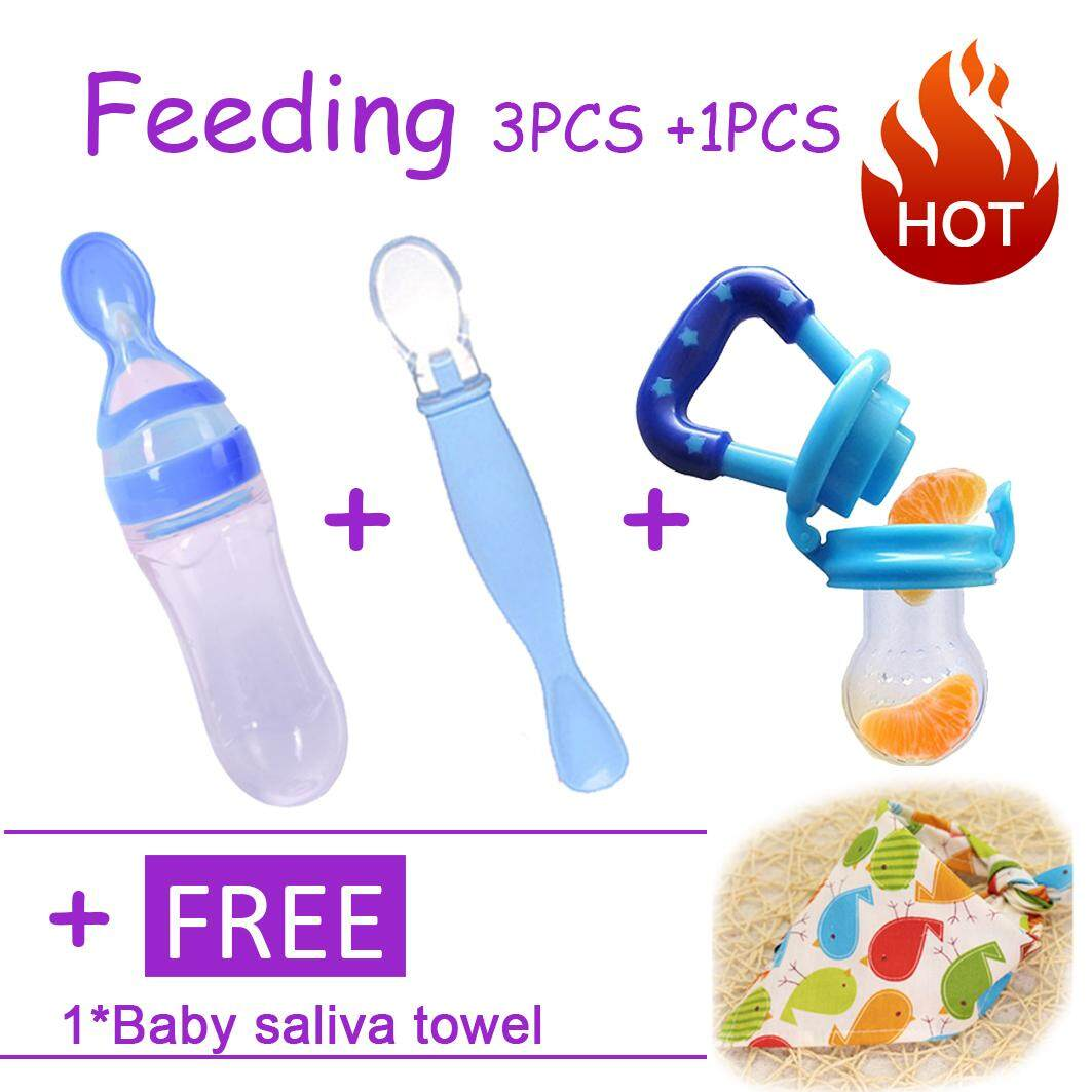 Feeding Set Silicone Baby Squeeze Spoon Food Feeder Bottle + Feeder Pacifier+silica Gel Spoon - Intl By Darling Baby.
