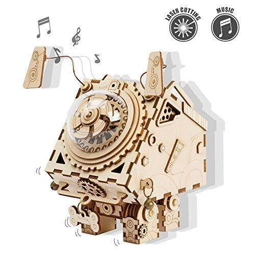 ROKR DIY Music Box Kit with a Lovely Song-Wind Up Music Box Mechanism-3d Wooden Puzzle Building set-Construction Model Kits for Boys and Girls When Christmas/Birthday/Valentine's Day