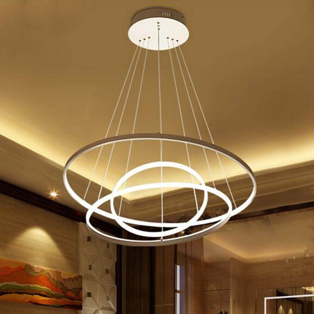 Circular Ring Pendant Lights 3/2/1 Circle Rings Acrylic Aluminum LED Chandelier#Warm Light - intl Singapore