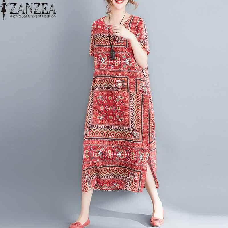 Zanzea ผู้หญิงแขนสั้นเสื้อยืดชุดพิมพ์ลายดอกไม้ฤดูร้อนชุดเดรสเชิ้ตยาวใหม่ - Intl By Zanzea.