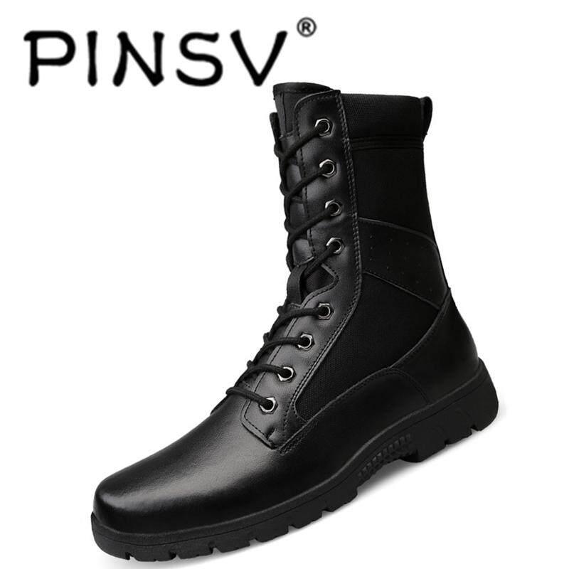 Pinsv รองเท้านุ่มและ Lightsome Cowhide รองเท้าคอมแบต Tough และทนทานเครื่องมือ Boot Non - Slip สวมใส่แต่เพียงผู้เดียว By Pinsv.