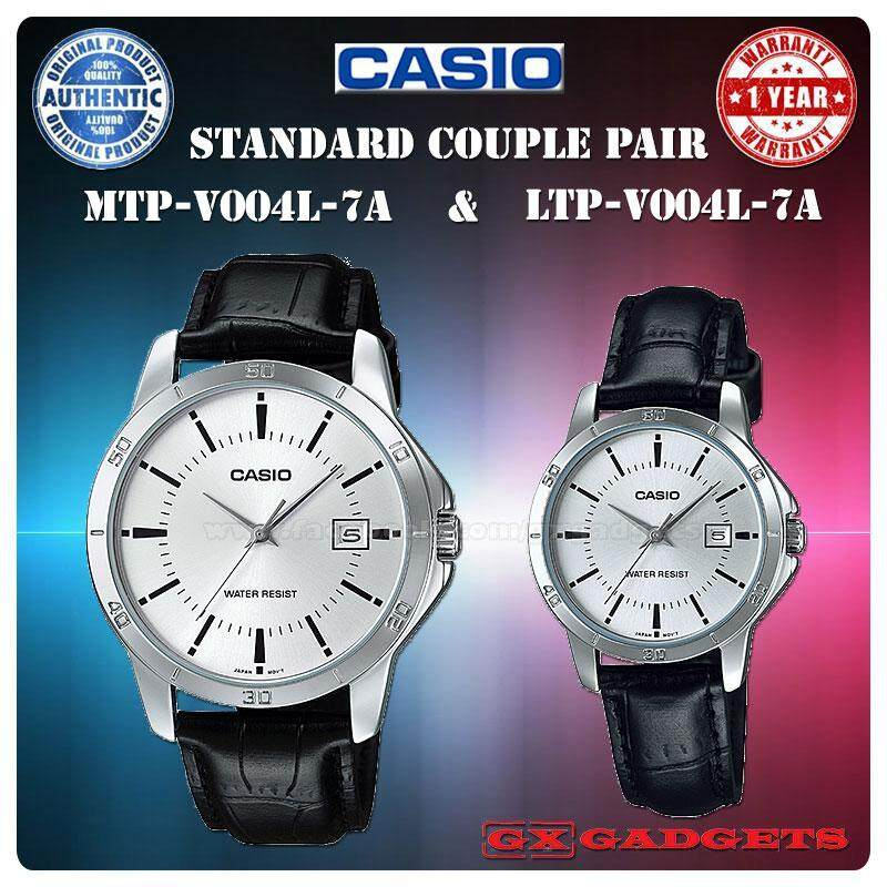 CASIO MTP-V004L-7A + LTP-V004L-7A STANDARD Analog Couple Pair Watch Date Leather Band Water Resistant MTP-V004 LTP-V004 V004 Series Malaysia