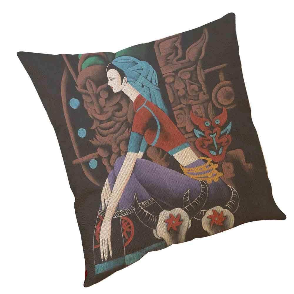 Ailsen Kreatif Batik Pola Sarung Bantal Sederhana Dicetak Sarung Bantal Desain 45X45 Cm