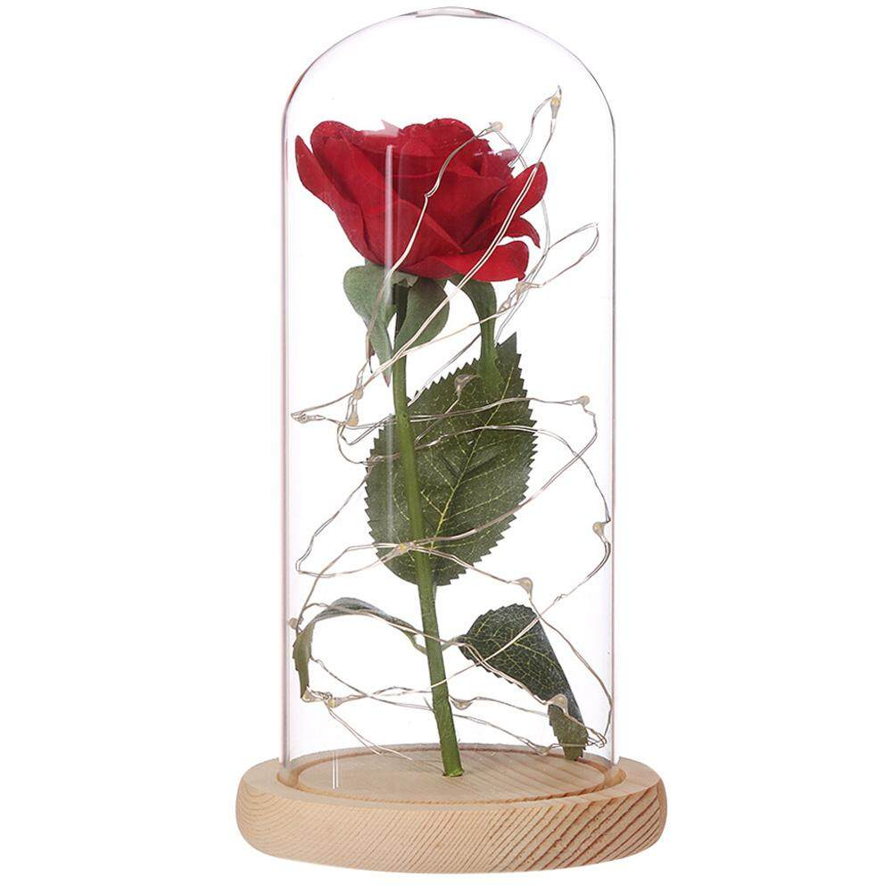 Birthday Gift Beauty and the Beast Red Rose w/ Fallen Petals in a Glass Dome on a Wooden Base for Christmas Valentines Gifts