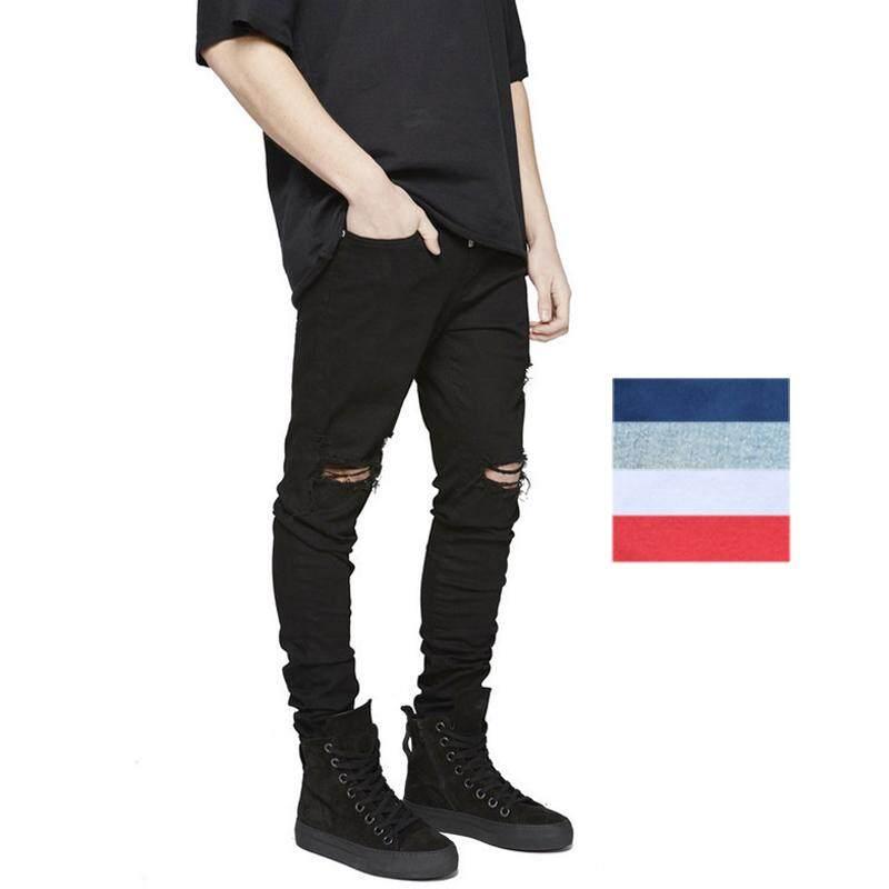 Detail Gambar Gaya Barat Kanye West lutut celana Jeans sobek membentuk tubuh Tren High Street Pria