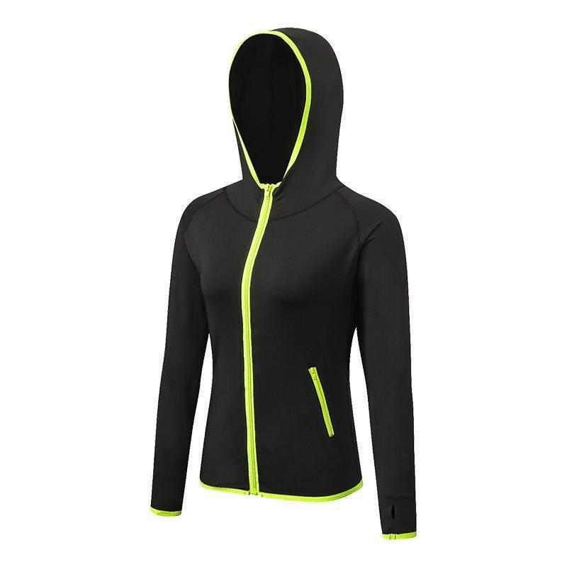 Lari Wanita Jaket Lengan Panjang Jaket Tudung Lari Ruang Olahraga Kebugaran Yoga Atasan Ketat Cepat Kering