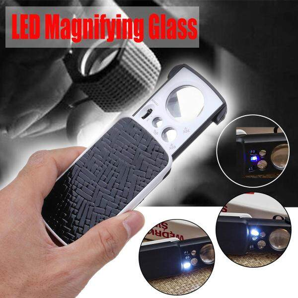 Pocket Magnifying 30/60/90X Jewellers Magnifier Glass UV LED Slide Light Loupe