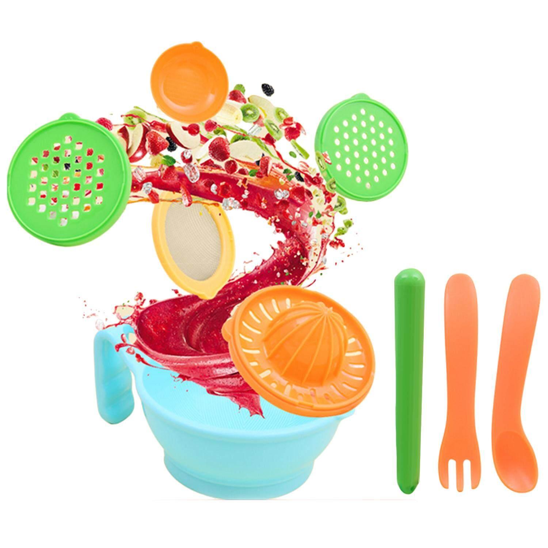 9 Pcs Multifungsi Manual Makanan Bayi Gerinda Giling Mangkuk Prosesor Penggiling Set untuk Diy Buatan Sendiri Buah Bayi Lumpur-Intl