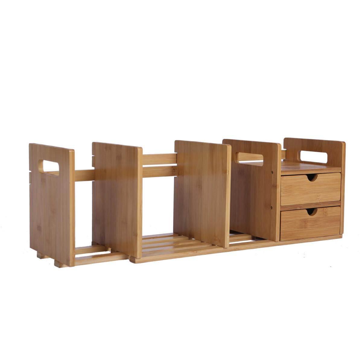 Ollieroo Rak Penyusun Meja Bambu dengan Dapat Diperpanjang Penyimpanan Laci untuk Kantor dan Rumah