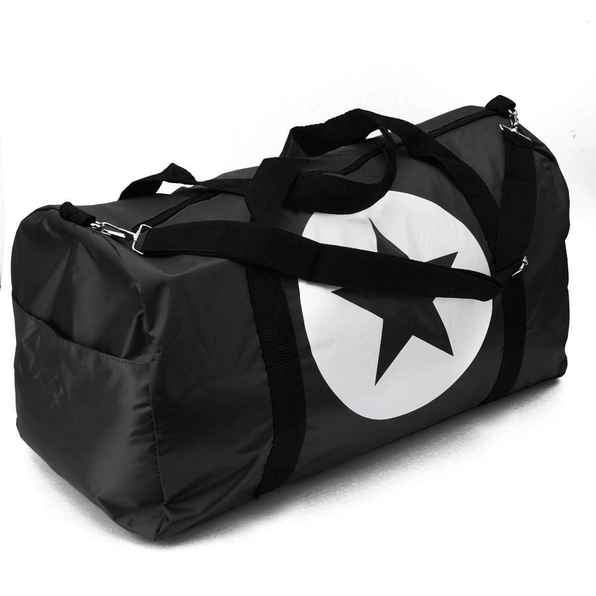 Women Men Unisex Waterproof Nylon Large Travel Bag Sports Gym Duffle Tote Star Black By Ferry.