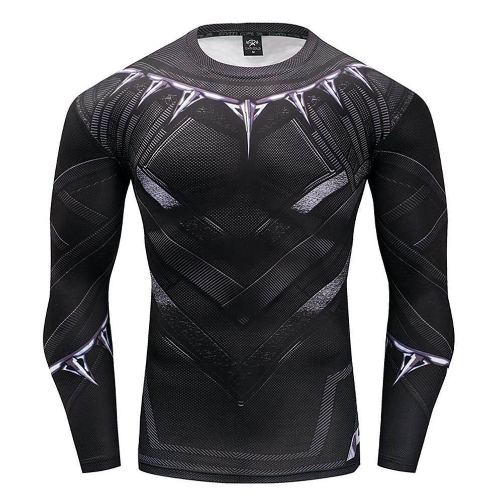 Super Hero Black Panther Sport T-shirt Men 3D Printing Long-sleeve Slim  Quick fee0eac5f