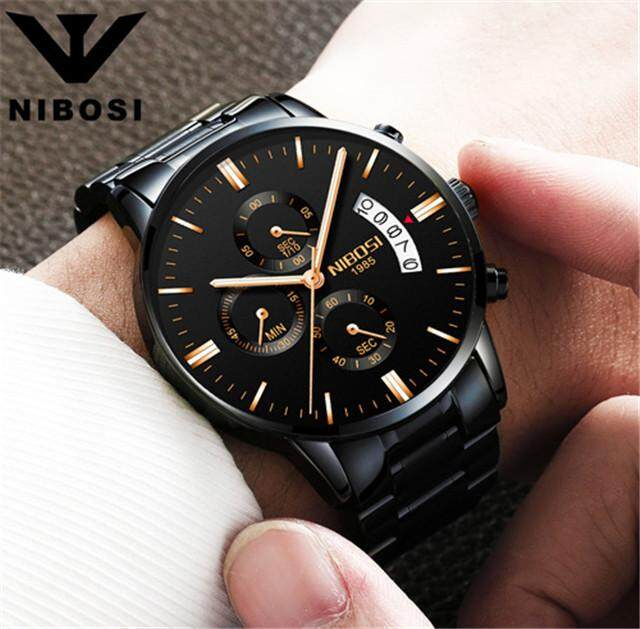 NIBOSI Men Watches Mens Fashion Sports Quartz Watch Top Brand Luxury Full Steel Casual Waterproof Business Wristwatches Malaysia