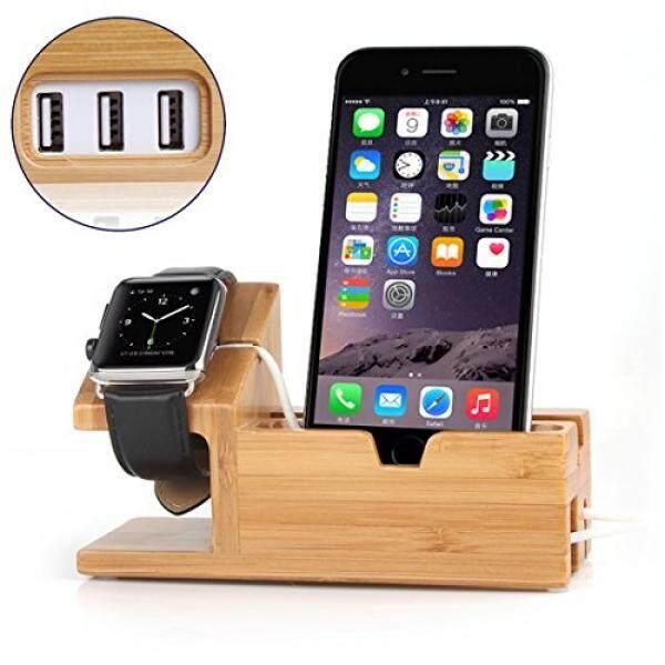 Smartphone Stasiun Pengisian Monyue Stasiun Pengisian Daya untuk Apple Menonton dan Telepon Dok Pengisi Daya Bambu Pengisi Daya Kayu Penyangga iPhone IWatch dengan 3 USB Port-Intl