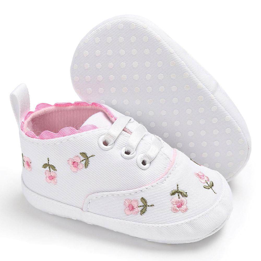Cocol Max Bayi Bayi Baru Lahir Gadis Bunga Sepatu Crib Sol Lembut Anti-Slip Kanvas Sepatu Kets By Cocolmax.