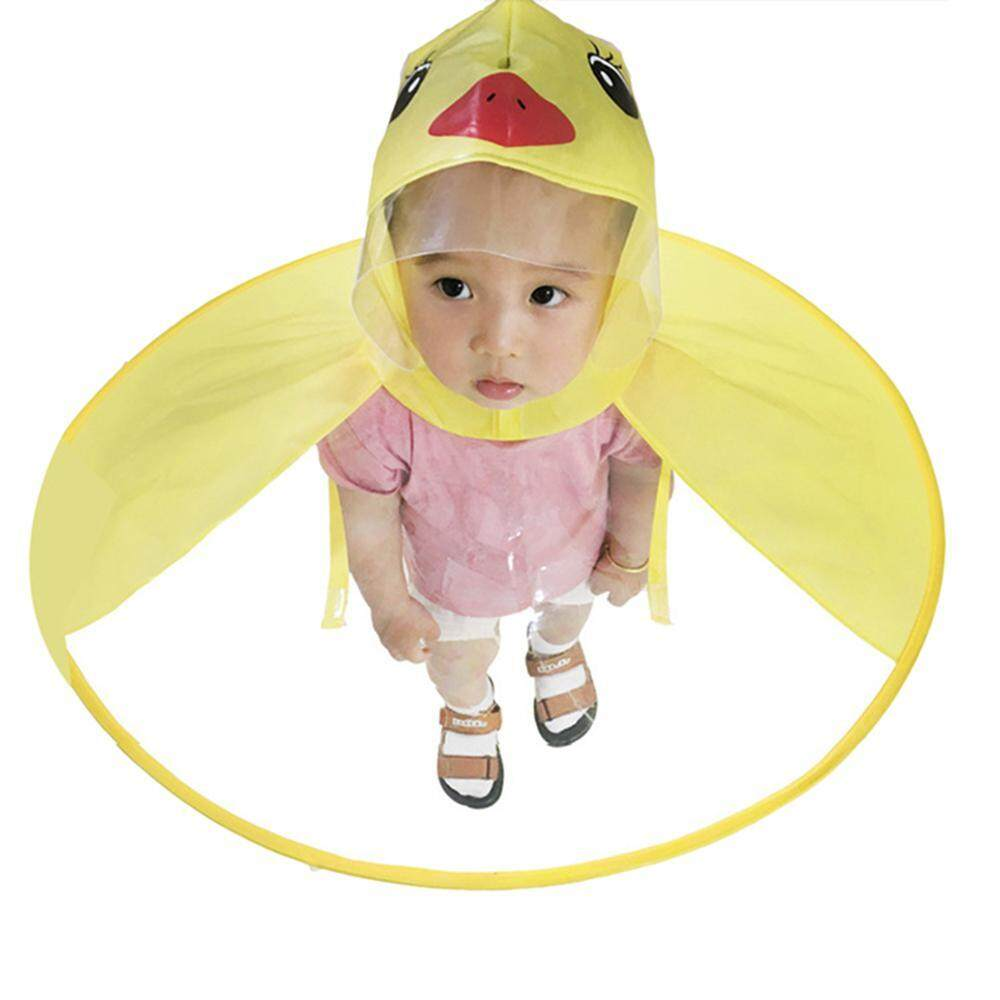 niceEshop Cute Little Yellow Duck UFO Rain Cape Headwear Hat Foldable Children Adult Raincoat Umbrella
