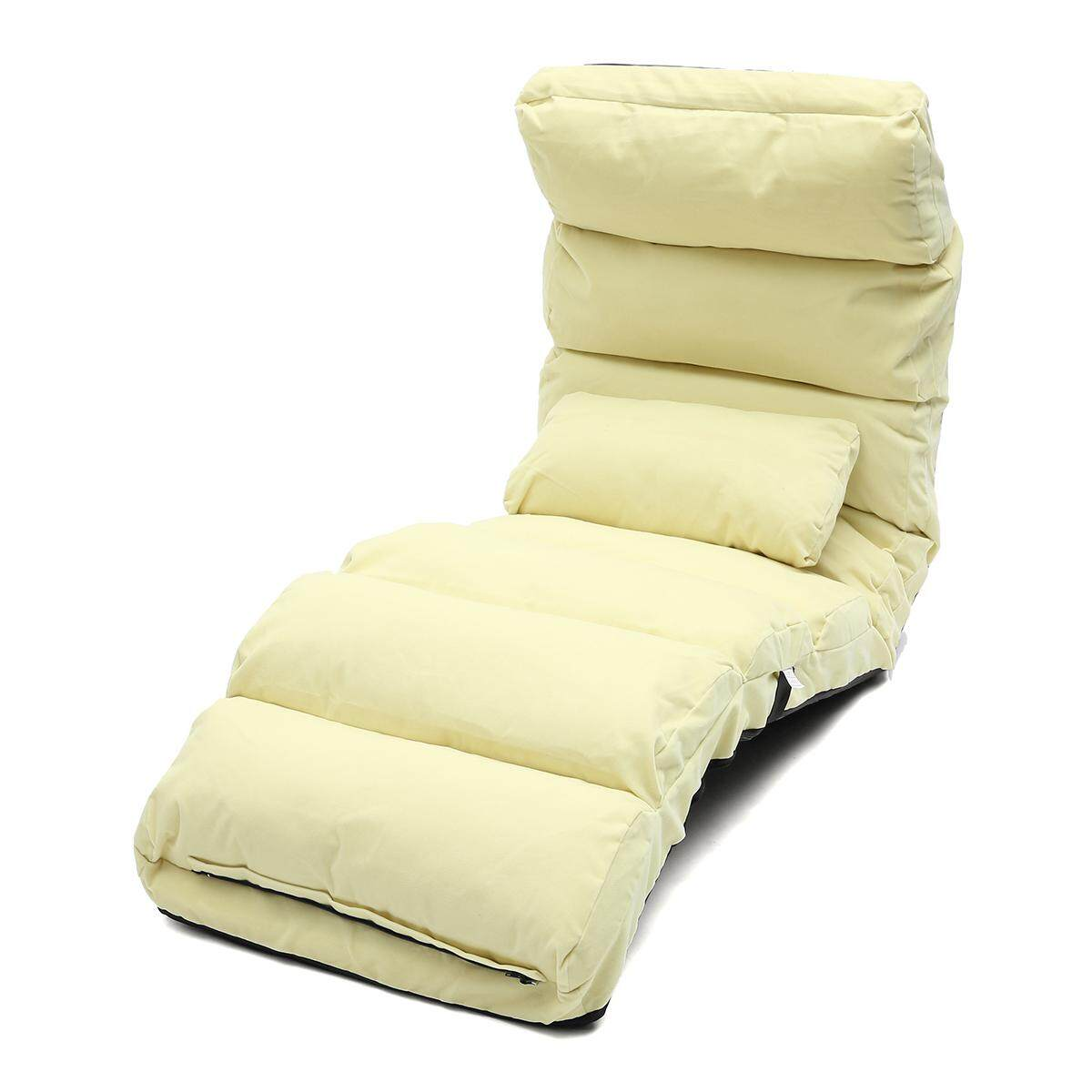 Lounge Sofa Bed Floor Recliner Folding Chaise Chair Adjustable Foldable AU Home Beige (Standard Size)
