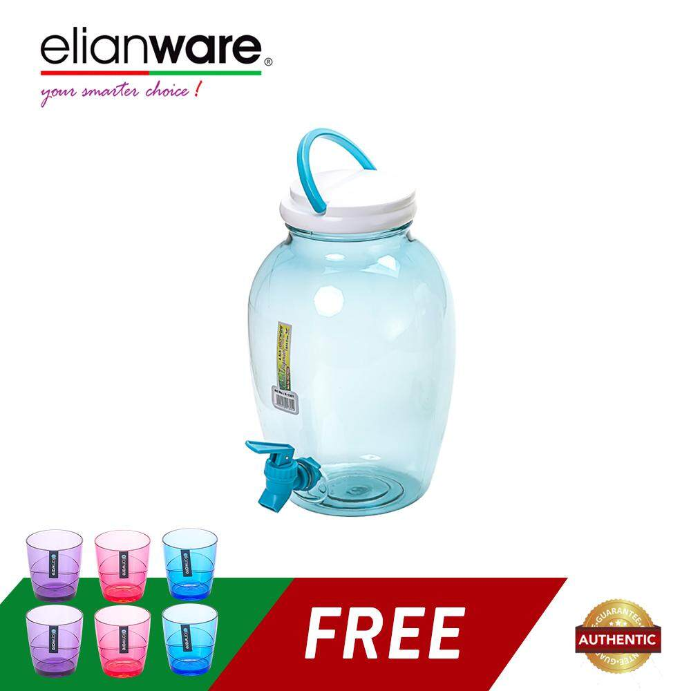 Elianware 4.5Ltr Light Durable No Leak Water Dispenser with Elianware 220ml x 6 Pcs Colourful Modern Drinking Cup Set