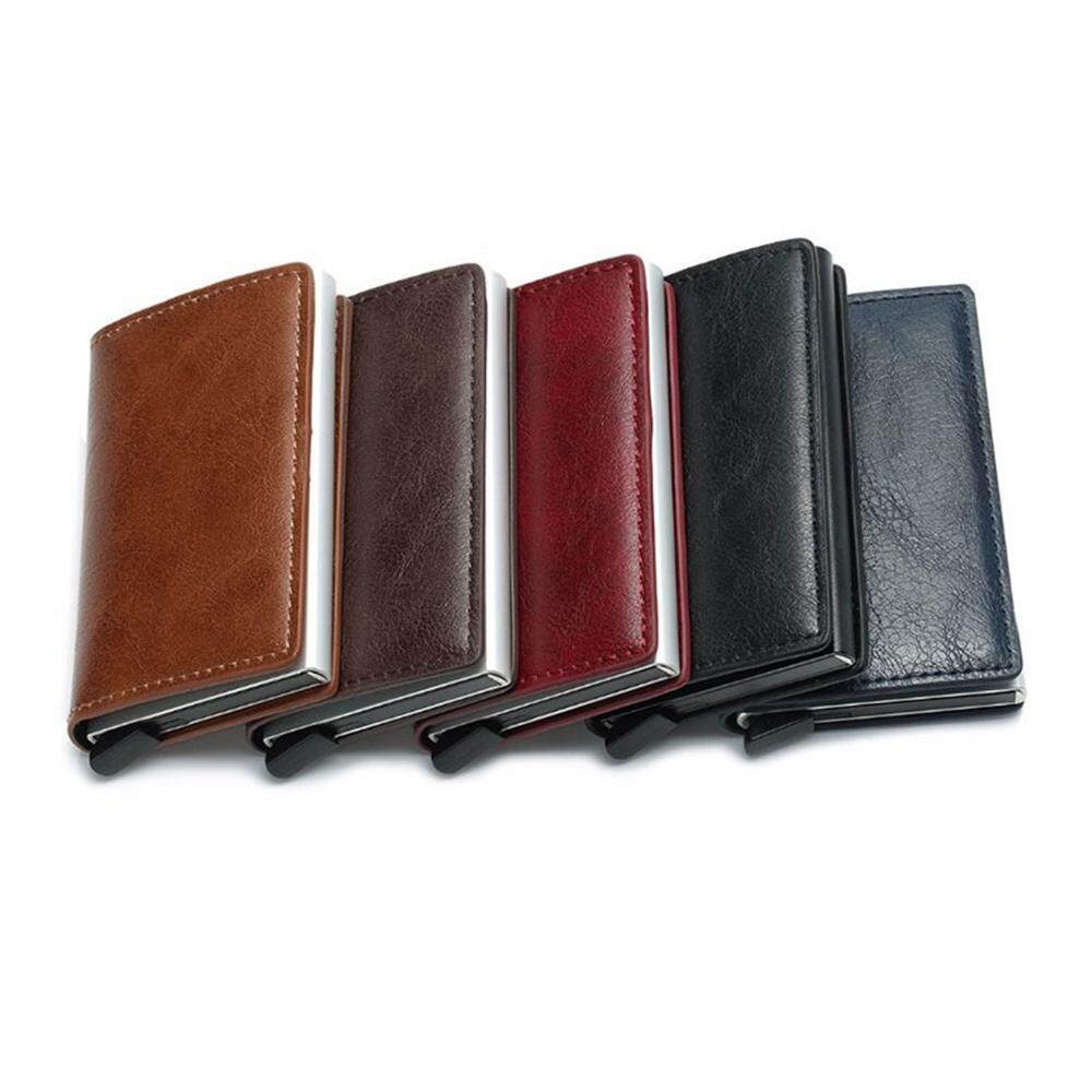 d9b7b2ad807e SeaLavender Credit Card Holder RFID Blocking Wallet Slim Wallet PU Leather  Vintage Aluminum Business Card Holder