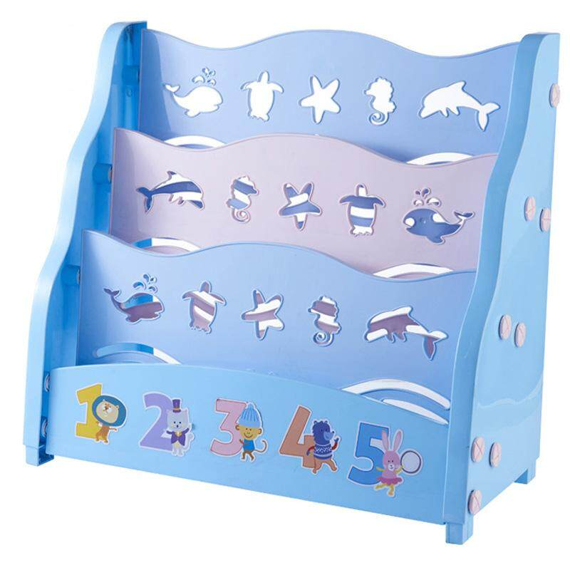 RuYiYu - 58x26x53cm, 3 Layer Cute Kids Book Rack Storage Bookshelf, Plastic Floor Bookshelf with Book Shelves, Home Furniture Organizer Storage Cabinet Bookcase