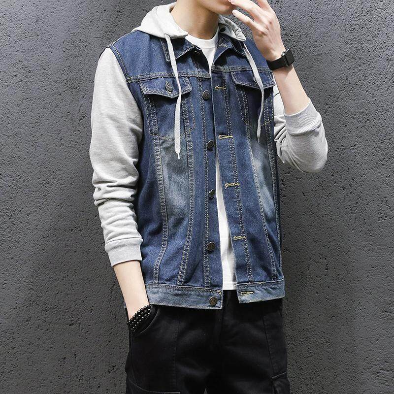 06ea5a2ee24 Denim Jacket Men Hooded Sportswear Outdoors Casual Fashion Jeans Jackets  Hoodies Cowboy Mens Jacket and Coat