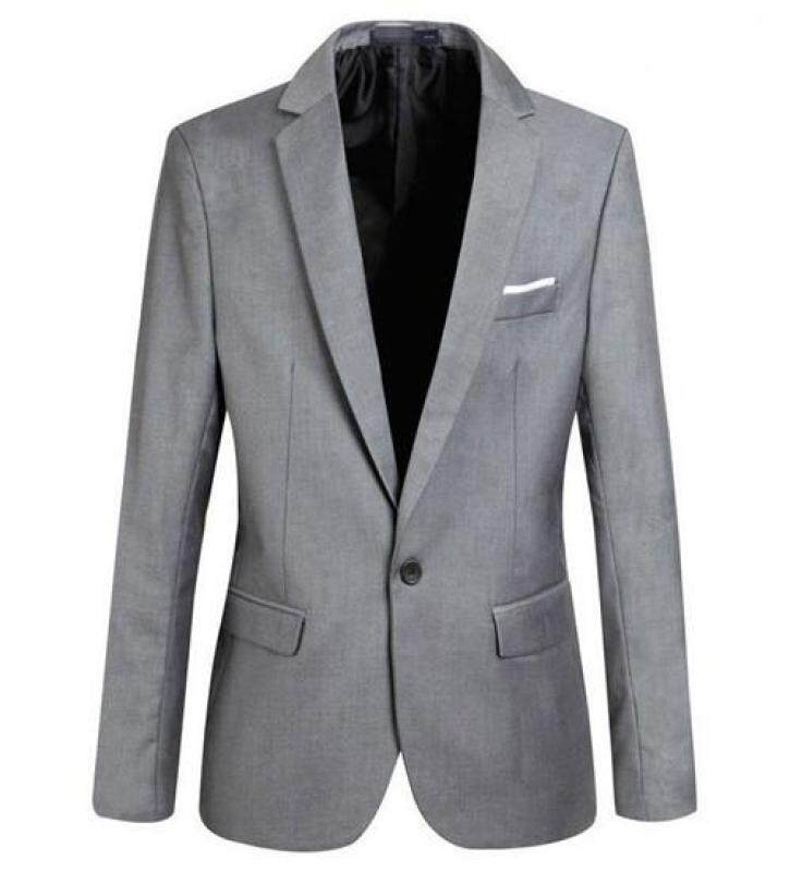 Mens Slim Fit Stylish Casual One Button Suit Coat Jacket Business Blazers Men Coat High Quality Men Blazers - Grey - Intl By Baolaiwu.