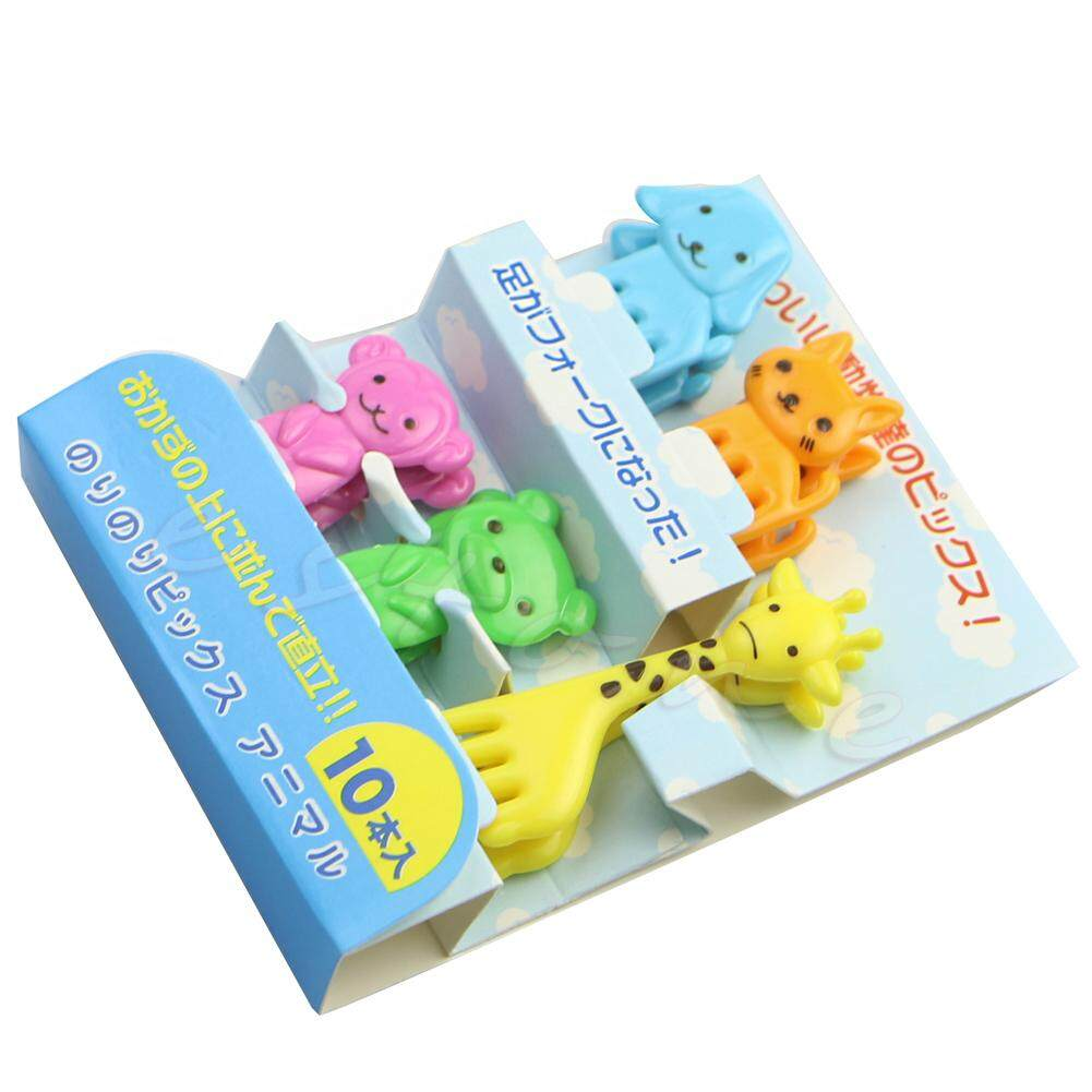 10 Pcs Mini Kawaii Animal Farm Garpu Motif Kartun Buah Tanda Tusuk Gigi Bento Makan Siang