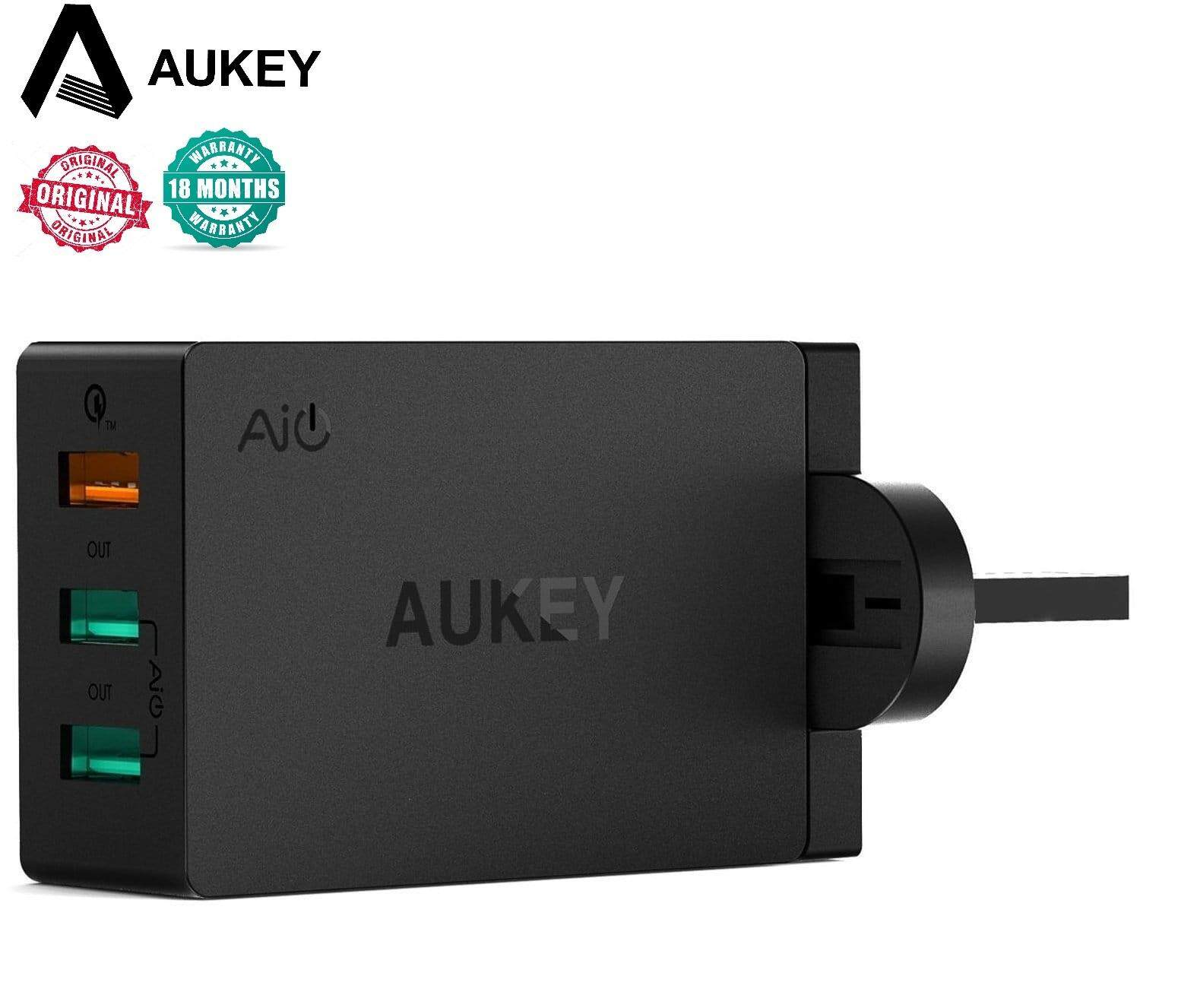 AUKEY PA-T14 3-Port USB Qualcomm Quick Charge 3.0 Travel Charger QC 3.0 3PIN (18 MONTHS WARRANTY)