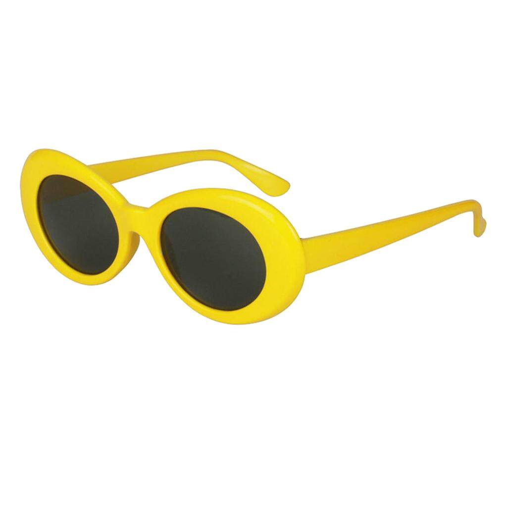 Magideal Retro Clout Goggles Glasses Oval Bold Mod Thick Framed Sunglasses Yellow By Magideal.