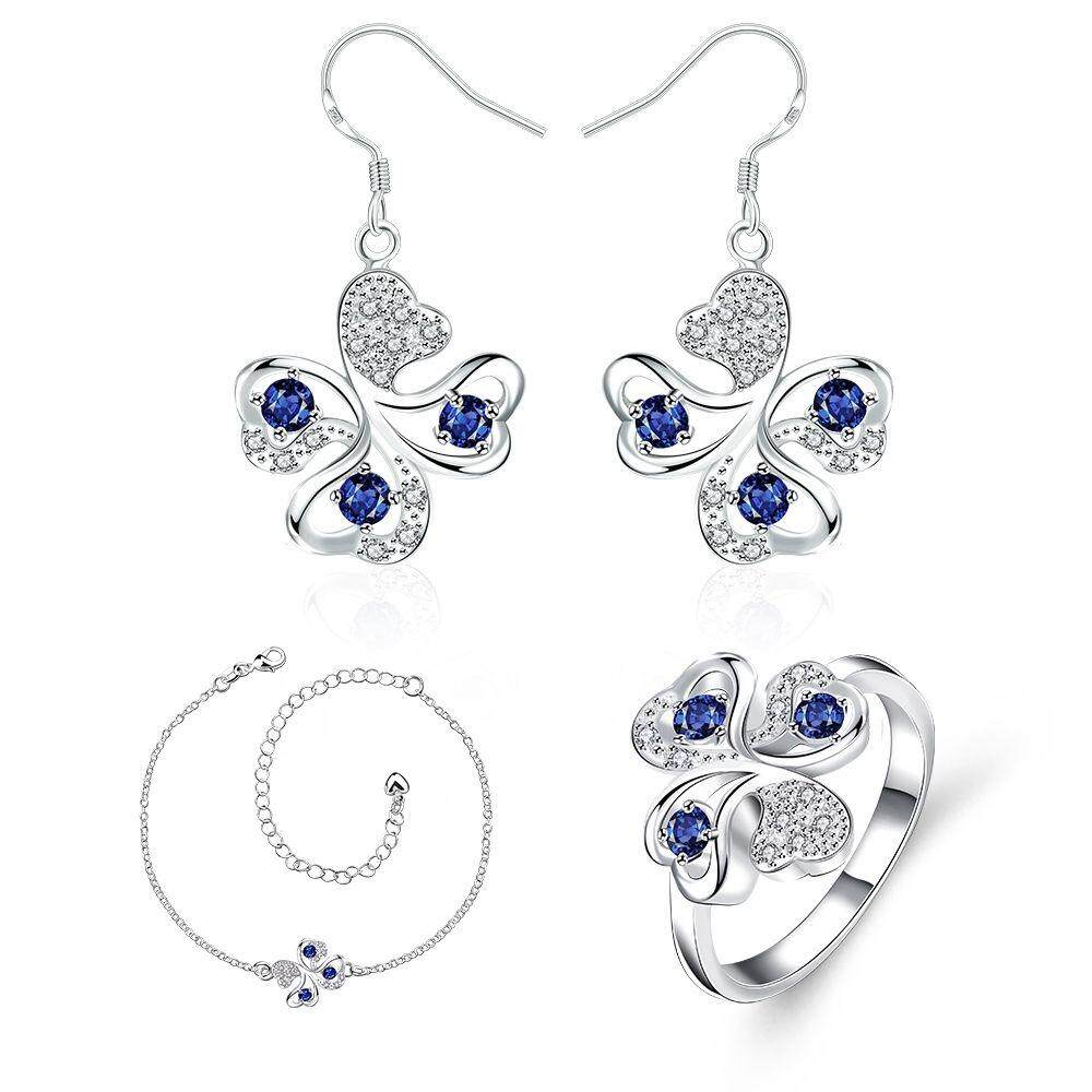 Free Shipping New Fashion Women popular 925 silver plated jewelry sets for sale (Blue)