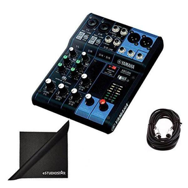 Yamaha MG06 6-Channel Mixing Console Bundle with XLR Cable and Polishing Cloth / From USA