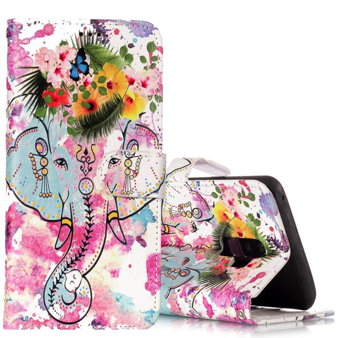 For Samsung Galaxy S9+ Gloss Oil Embossed Flower Elephant Pattern Horizontal Flip Leather Case with Holder & Card Slots & Wallet - intl