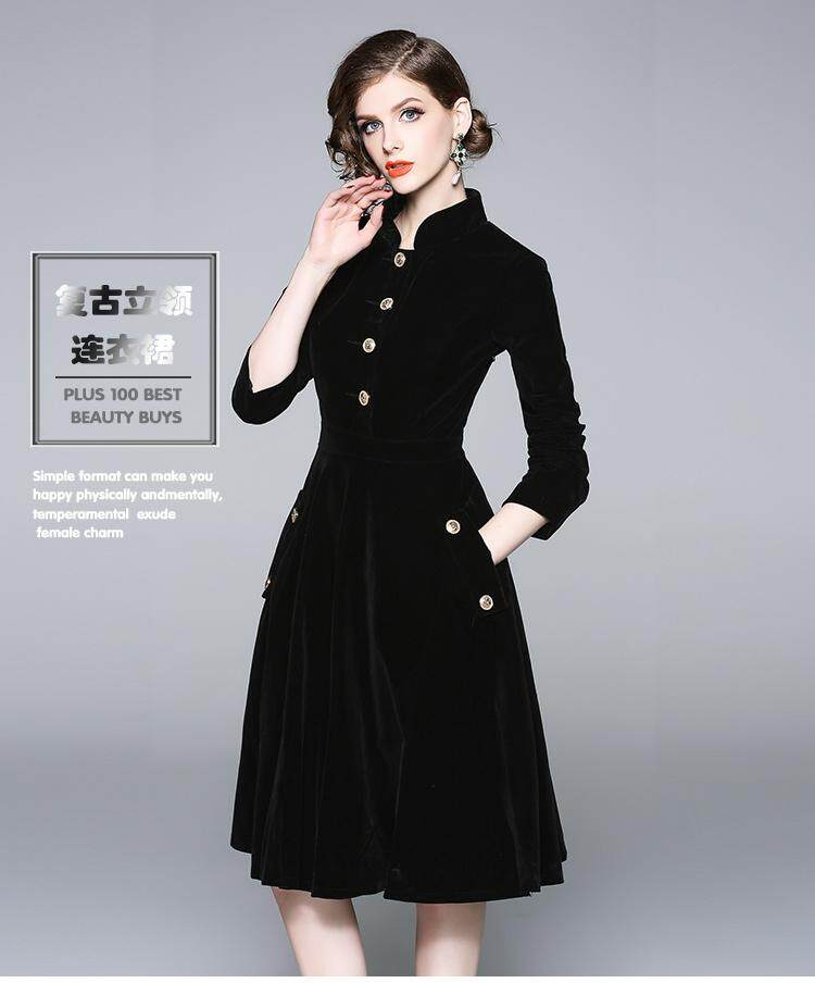 6a1a453894cb4 Elegant Lady Dress with Black Velvet Stand Neck Vintage Big Swing Single  Button Pocket High Quality Winter Autumn Dress Plus Size