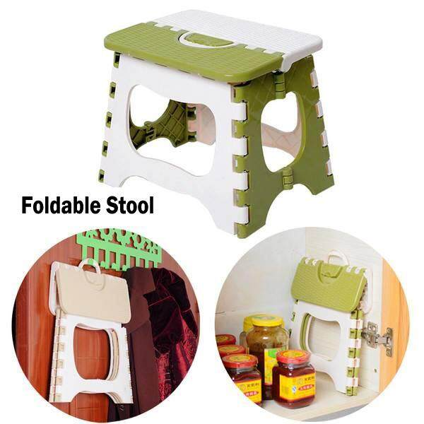 (Green)Multi Purpose Fold Step Stool Plastic Home Kitchen Foldable Easy Storage Chair