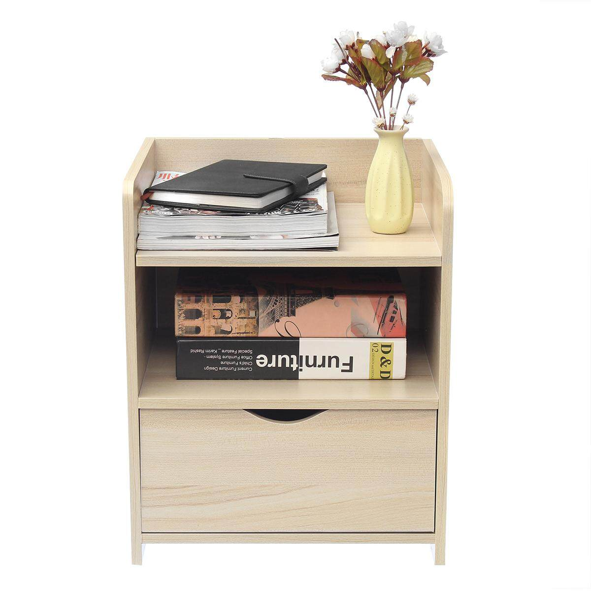 Modern Wooden Bedside Table Nightstand Storage Bedroom Cabinet Shelf Units
