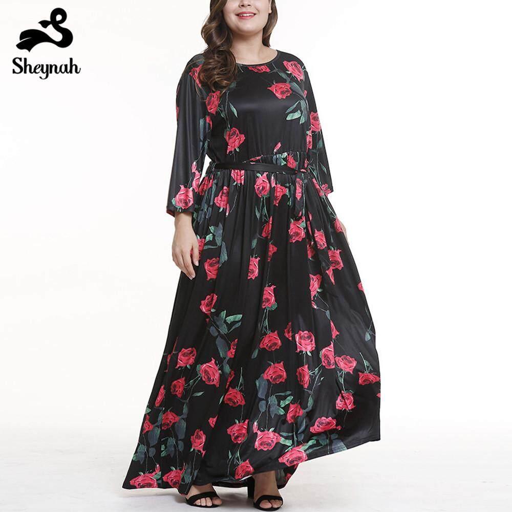 Ukuran Plus Wanita Panjang Gaun Motif Bunga BoHo Pakaian Pantai Tunik Gaun Maxi Pesta Malam Vestido