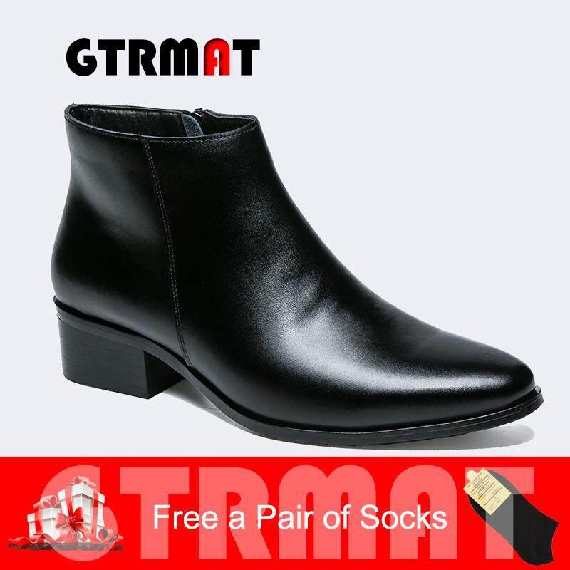 Gtrmat รองเท้าหนังแท้ซิปสูงด้านบนแหลมนิ้วเท้าผู้ชายบู๊ทส์ด้วยขนรองเท้าสไตล์อังกฤษสำหรับผู้ชาย Kasut Kulit Lelaki.