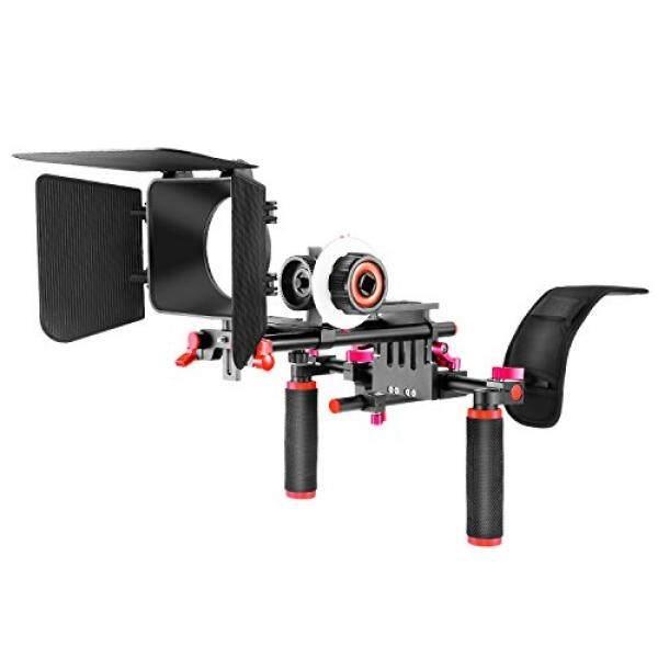 Neewer Film Film Video Membuat Sistem Perlengkapan untuk Canon Nikon Sony dan Kamera DSLR Kamera Perekam Video, Termasuk: Penahan Bahu, 15 Mm Rod, Ikuti Fokus Kotak Matte (Merah)-Intl