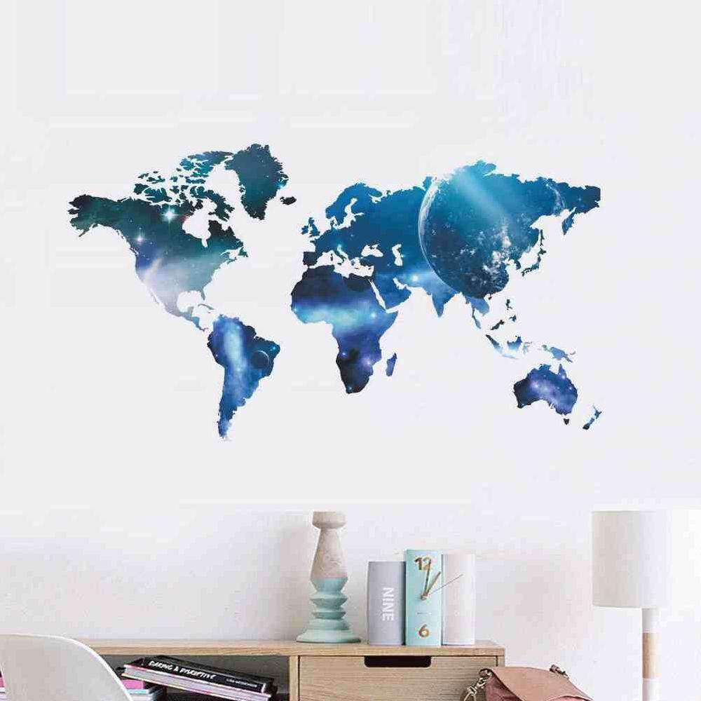 Wall stickers for sale wall decals prices brands review in betes blue planet world map wall sticker office living room decoration diy print mural art home gumiabroncs Images