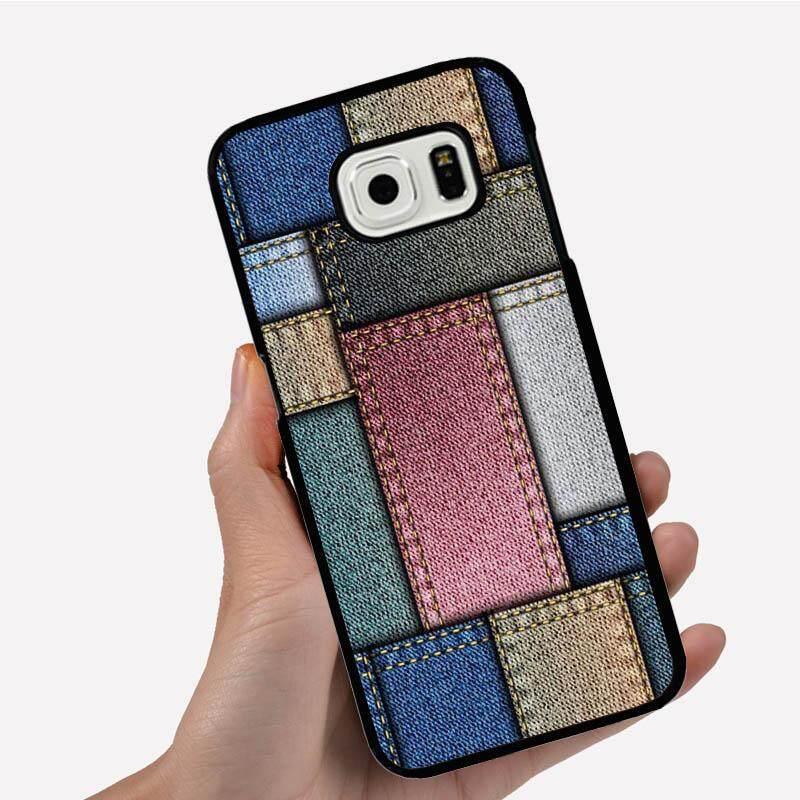 Casing Ponsel untuk Samsung Galaxy dengan Kain Kisi Gambar Kartun Pola Plastik Anti-Knock Telepon Case Cover