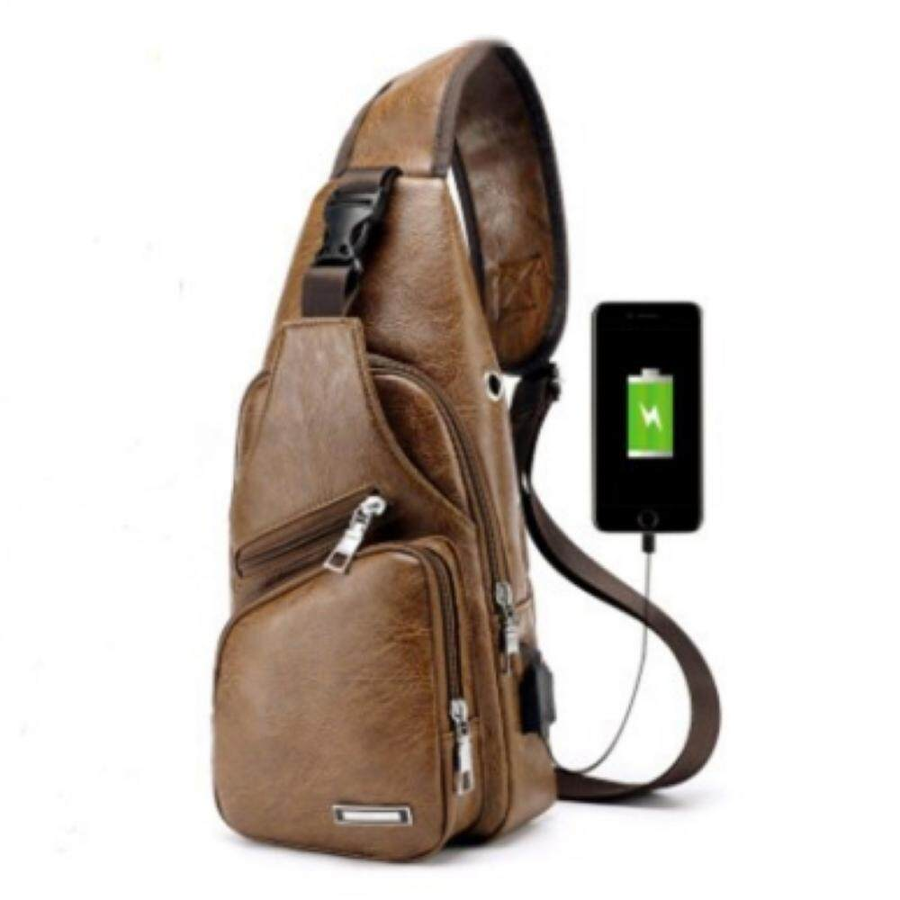 Men Lightweight Casual PU Leather Travel Messenger Bags with USB Charging  Sling Shoulder Cross Body Chest 8fbb7b610f7b0