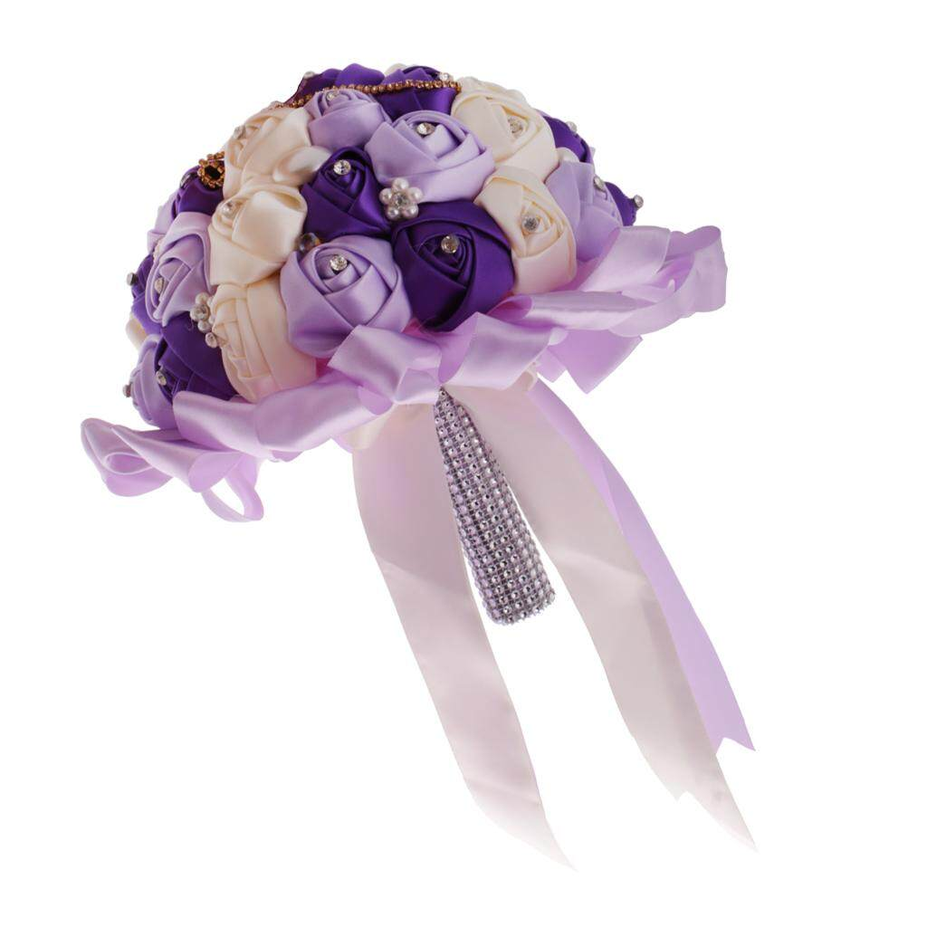 GuangquanStrade Crystal Purple Satin Silk Rose Flower Wedding Bride Bridesmaid Bouquet 25cm