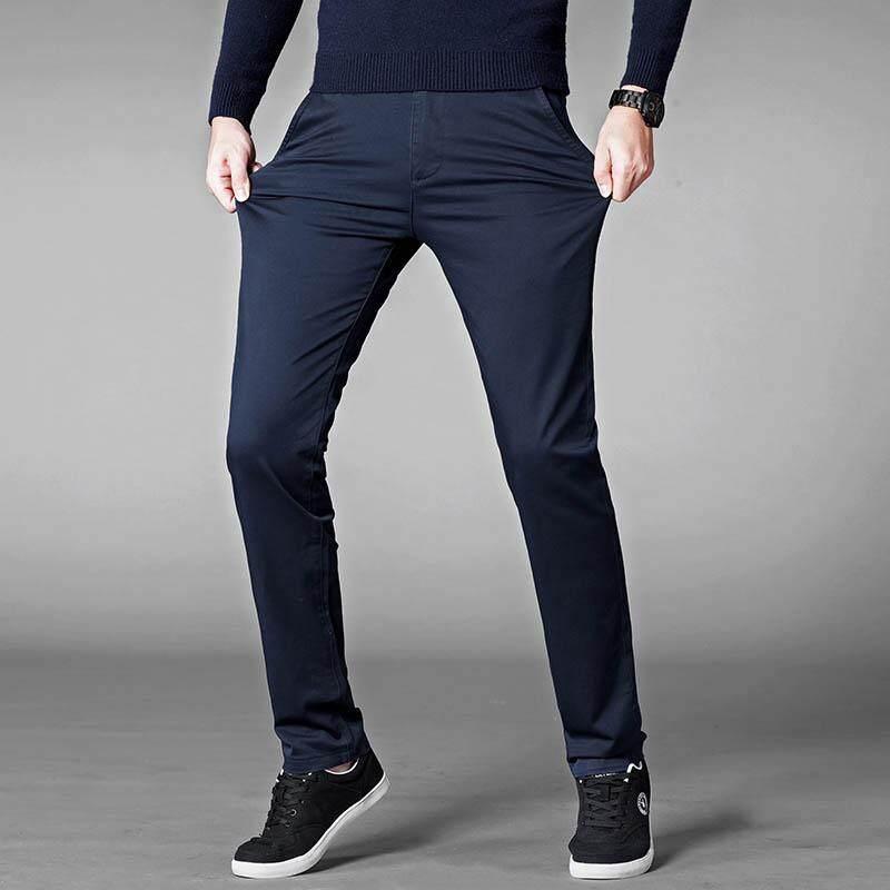 e42ff434cfe7 Big Plus Size Men s Casual Business Pants Stretchable Cotton Long Work  Trousers Chinos Grey Khakis Black
